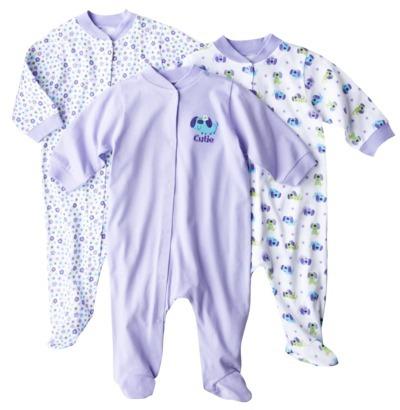 GE Gerber® Newborn 3-Pack Snap Front Sleep N' Play - Purple