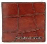 Alexander McQueen Men's 'Grid' Bifold Leather Wallet - Brown