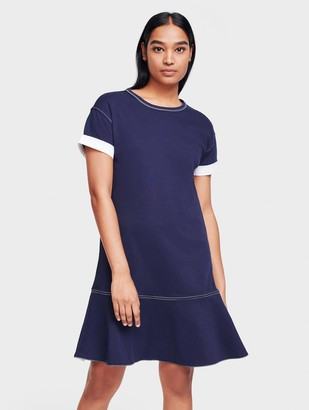 White + Warren Combed Cotton Drop Waist Tee Dress