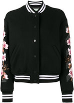 Off-White floral embroidered varsity jacket - women - Cotton/Acrylic/Polyamide/Wool - 44