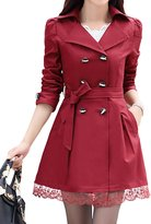 Roundshop Women's Double-Breasted Lace Hem Belt Trench Coat