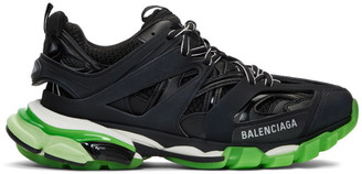 Balenciaga Black and Green Glow-in-the-Dark Track Sneakers