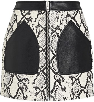 McQ Yael Python-Embossed Leather Skirt