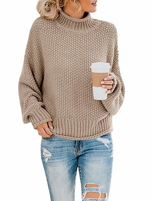 FIRENGOLI Womens Turtleneck Oversized Sweaters Batwing Long Sleeve Pullover Loose Chunky Knit Jumper (Khaki Large)