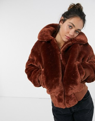 Pepe Jeans Rachel short faux fur coat in brown