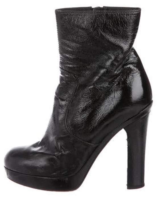 Saint Laurent Patent Leather Round-Toe Booties Black Patent Leather Round-Toe Booties