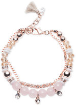 lonna & lilly Rose Gold-Tone Baby Pink Beaded and Crystal Layer Bracelet