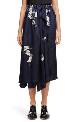 Y's by Yohji Yamamoto Floral Asymmetrical Wide Leg Pants