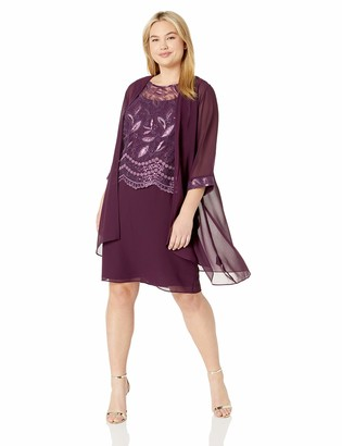 Le Bos Women's Plus Size Embroidered Sequin Jacket Dress