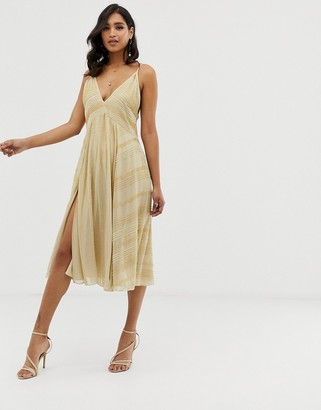 Asos DESIGN midi swing cami dress in linear beading
