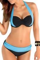 YMING Women Two Piece Tankinis Splice Color Bikini Set Swimsuit Blue S