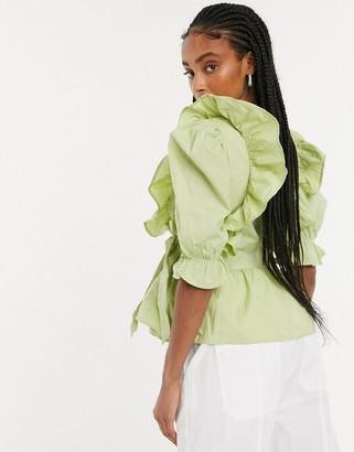 Monki Vella organic cotton wrap frill blouse in green