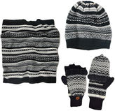 Muk Luks 3-pc. Fair Isle Slouch Beanie, Scarf and Flip Gloves Set