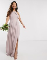 TFNC bridesmaid exclusive pleated maxi dress in pink