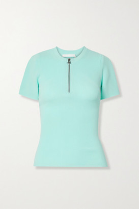 Helmut Lang Zip-detailed Ribbed-knit Top - Sky blue
