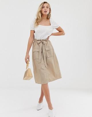 Vila utility midi skirt in beige