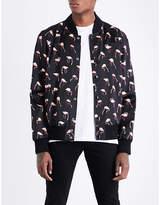Saint Laurent Flamingo-print Satin Bomber Jacket