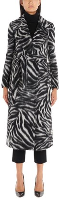 Tagliatore Belted Animalier Print Coat