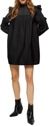 Topshop Pintuck Frill Long Sleeve Minidress