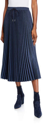 Lafayette 148 New York Gwenda Micro Pleating Drawstring Midi Skirt
