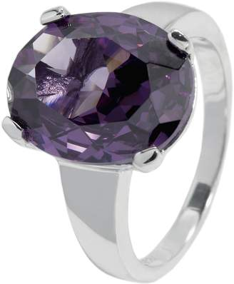 Monti Carlo Women's Ring 925 Sterling Silver Rhodium-Plated Cubic Zirconia Purple Oval JCM 104-111 in Prong Setting 18mm Purple