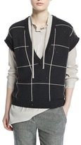 Brunello Cucinelli Cap-Sleeve Embellished Windowpane Pullover, Charcoal