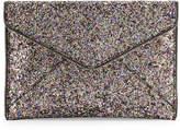 Rebecca Minkoff Leo Glitter Envelope Clutch Bag, Silver/Multi