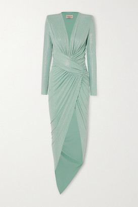 Alexandre Vauthier Asymmetric Ruched Crystal-embellished Stretch-jersey Gown - Mint