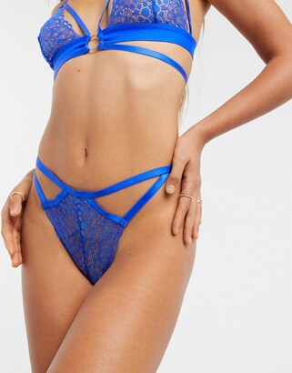 ASOS DESIGN Dolly geo lace thong with strapping in cobalt