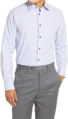 David Donahue Trim Fit Plaid Dress Shirt