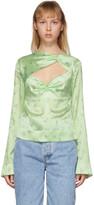 Ganni Green Silk Floral Blouse
