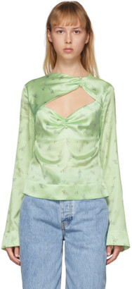Ganni Green Silk Floral Blouse