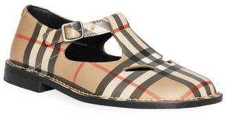 Burberry Girl's Kipling Archival Plaid Mary-Jane T-Strap Shoes