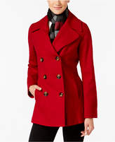 London Fog Petite Double-Breasted Peacoat With Scarf