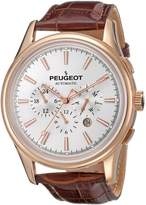 Peugeot Men's MK910RBR Automatic Rose Gold Stainless Steel Multifunction Brown Leather Watch