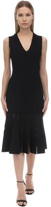 Alexander McQueen Flared Jersey Knit Midi Dress