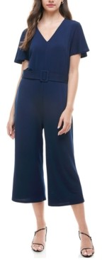 Monteau Petite Belted Cropped Jumpsuit