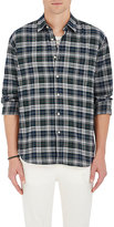 Barneys New York Men's Plaid Cotton Flannel Shirt-GREY, GREEN, BLUE
