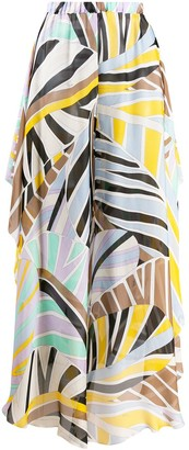 Emilio Pucci Leaf Print Long Skirt