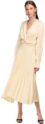 Magda Butrym Pleated Silk Satin & Crepe Midi Dress