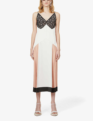 Ports 1961 Colour-block lace-trim satin midi dress