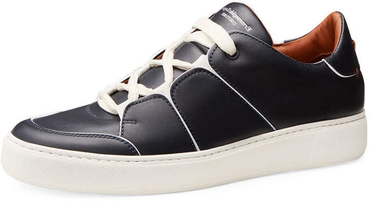 Ermenegildo Zegna Tiziano Men's Leather Low-Top Sneakers, Navy