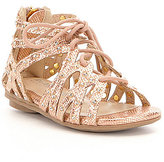 Kenneth Cole Reaction Girl's Bright Metallic Leather Caged Lace Up Sandals
