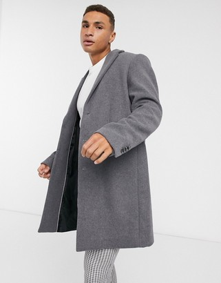 ASOS DESIGN wool mix overcoat in light grey
