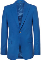 Alexander McQueen Blue Slim-fit Wool Blazer