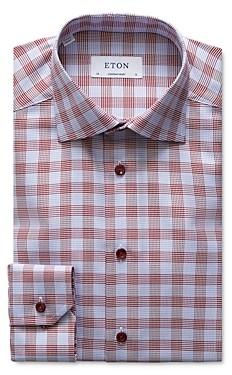 Eton Slim Fit Contrast Blue Button Plaid Dress Shirt