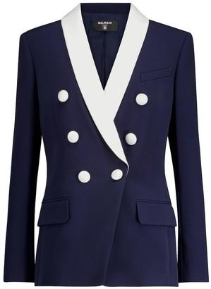 Balmain Double-breasted crepe blazer
