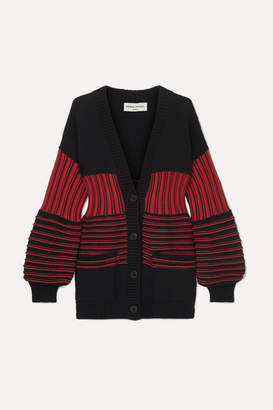 Sonia Rykiel Paneled Striped Ribbed-knit Cotton-blend Cardigan - Red
