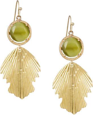 Nakamol Stone Feather-Dangle Earrings, Gold/Green