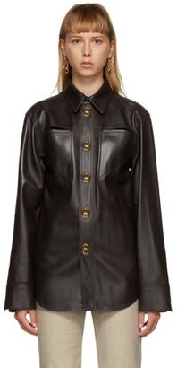 Bottega Veneta Brown Leather Shirt